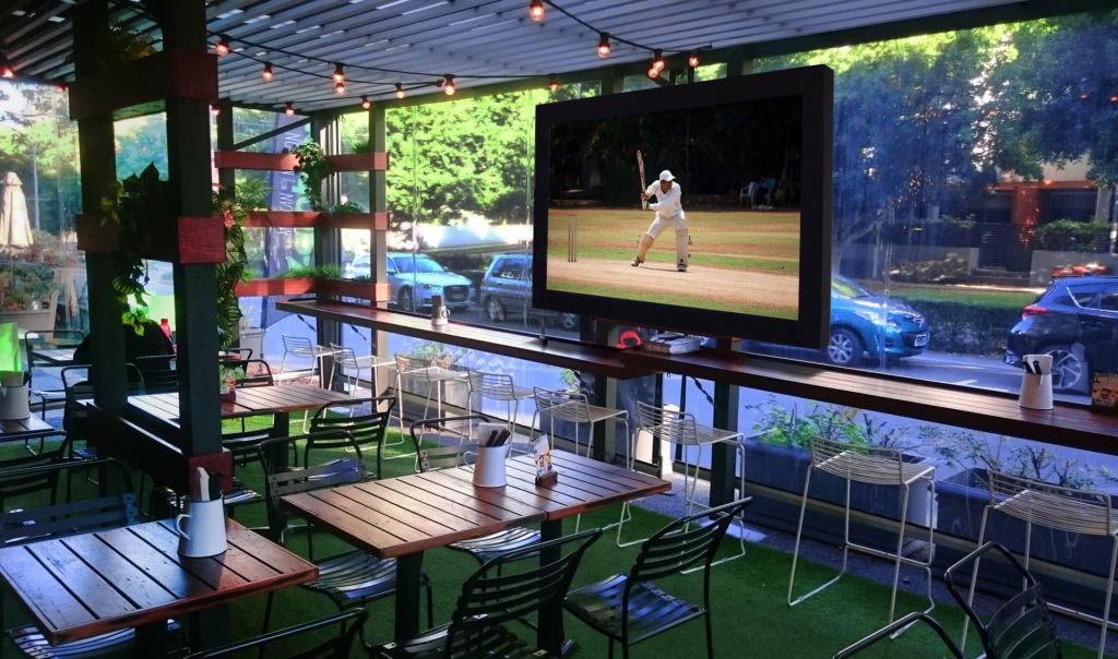 patio with tv